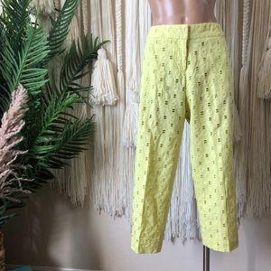 Isaac Mizrahi Cotton eyelet Crop Pants